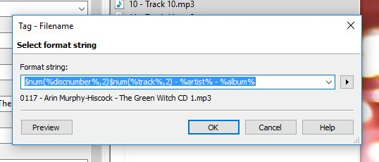 MP3 Tag Format String
