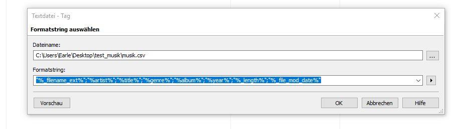 Dialog: Textdatei – Tag, Formatstring auswählen