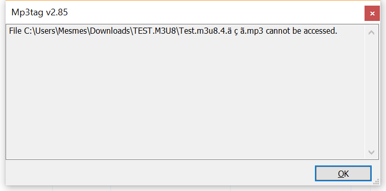 X] MP3TAG Importing M3U files is dropping tracks - No Bugs